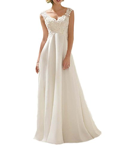 VIVIANSBRIDAL® A Line Lace Sapghetti Straps Chiffon Wedding Dresses, US 10 Ivory