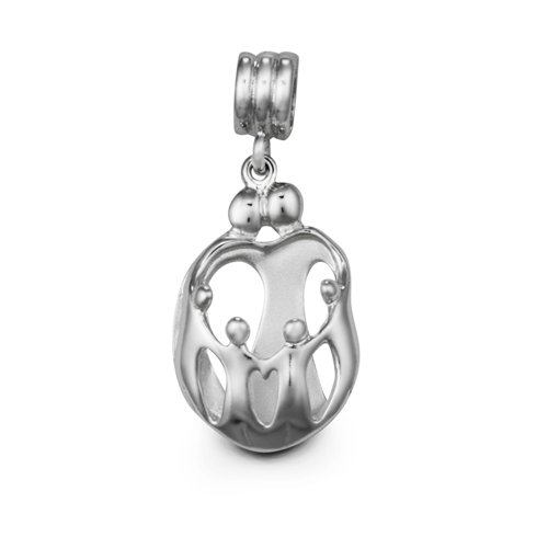 Loving Family® Sterling Silver Heart Charm Parents and 4 Children - Compatible with European Charm Bracelets