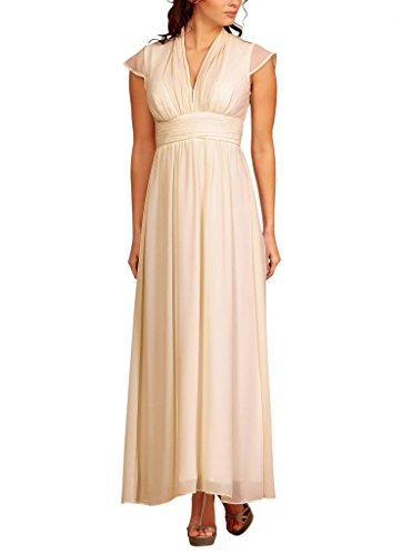 Full length Evening Gown Cap sleeves Pleated Neckline Empire Waist Chiffon Party Formal Dress UK Cream Size 12