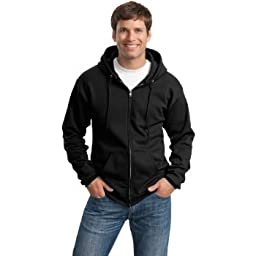 Port & Company Classic FullZip Hooded Sweatshirt-L (Charcoal),4X Big,Black