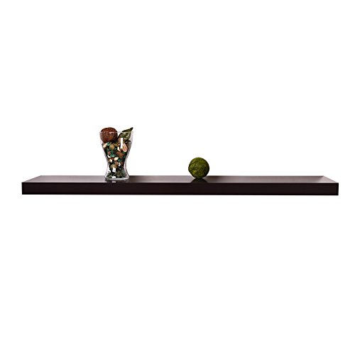 Welland chicago floating wall shelf 60 inch espresso for Wall shelves and ledges