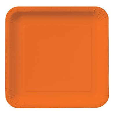 Creative Converting Touch of Color 18 Count Square Paper Lunch Plates, Sunkissed Orange from Creative Converting