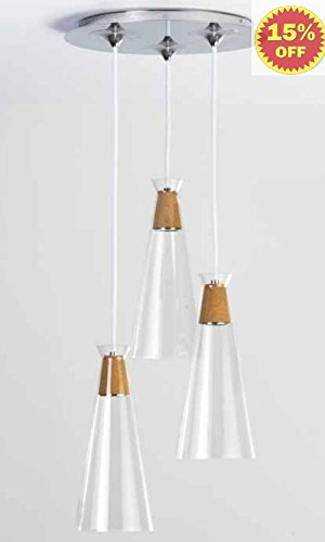 Ayre Naked Multi Pendant Ligting Nakpr3 Flat Canopy/ Clear Glass Diffuser/ Chrome Finish/ Cork With White Cord/ Led Lighting