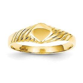 Genuine IceCarats Designer Jewelry Gift 14K Child's Fancy Signet Ring Size 3.00
