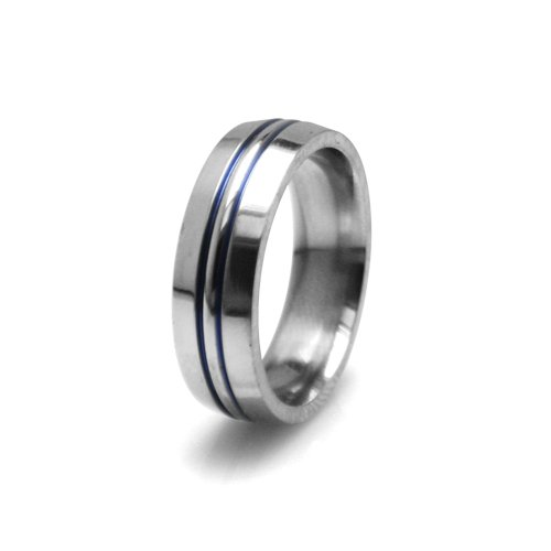 7mm Gray Titanium Ring with Centered Double Blue Anodized Color Inlay, Size 6