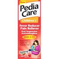 Pediacare childrens fever and pain reducer liquid, dye free, cherry flavor - 4 oz