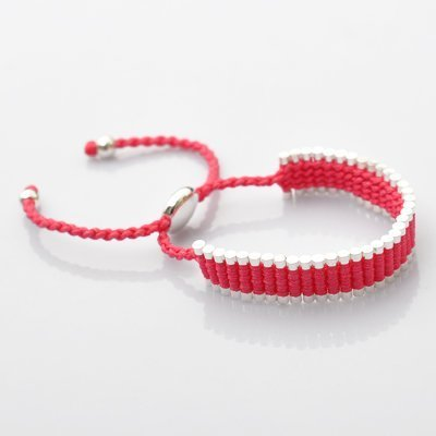 5 COLOURS AVAILABLE ON THIS LISTING Silver Friendship Bracelet By KurtzyTM - Pink
