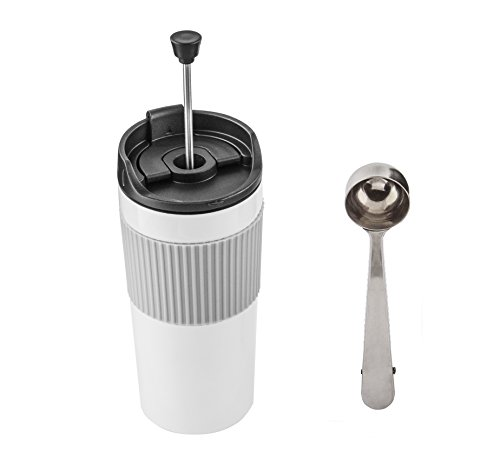 Stainless Steel French Press Insulated Travel Mug with Coffee Measure Bag Clip Scoop and Spill Proof Lid (12 OZ, White) (French Coffee Press Travel Mug compare prices)