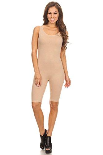 Vialumi Women's Juniors Sleeveless Scoopneck Cropped Bodysuit Nude Medium