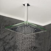 Lacava Ceiling-mount tilting square rain shower head with glass border, 11 1/4