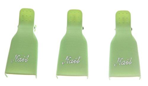 EOZY 10PCs Clips de Ongle Art en Plastique pour Tremper le Dissolvant Effacer Vernis d'Angle Vert