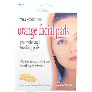 NU-PORE Orange Pre Moistened & Soothing Facial Pads Revives Tired, Stressed Skin & Soothes & Refreshes with Ginseng, Aloe & Ginko (Quantity: 2 Pads)