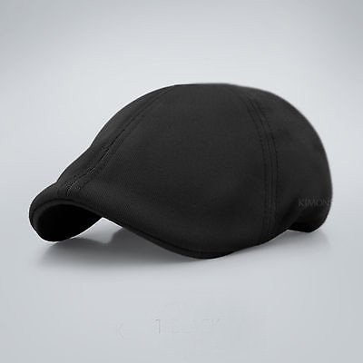Black Solid Cotton Gatsby Cap Mens Ivy Hat Golf Driving Summer Sun Flat Cabbie Newsboy (Great Seal Hat compare prices)