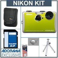 Nikon Coolpix S1100pj Digital Camera Kit - Green - with 8GB SD Memory Card, Camera Case, Table Top Tripod, Spare EN EL-12 Lithium-Ion Battery, 2 Year Extended Service Coverage