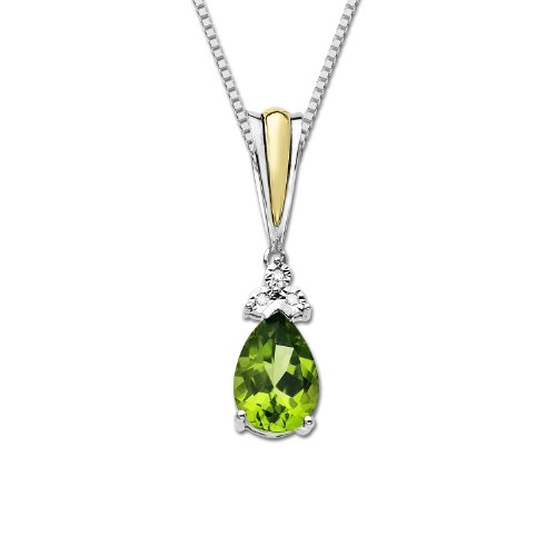 S&G Sterling Silver and 14k Yellow Gold Peridot and Diamond Pendant Necklace, 18