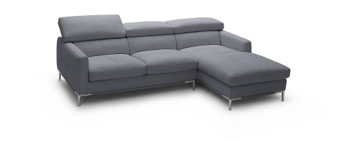 J&M Furniture 1281B Grey Colored Italian Leather Sectional Sofa With Adjustable Headrests - Right Arm Facing