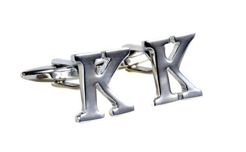 "Simplicity Large Vintage Monogram Cufflinks Letter ""K"" Initial - Silver Color"