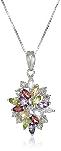 Sterling Silver Multi-Gemstones Drop Pendant Necklace, 18