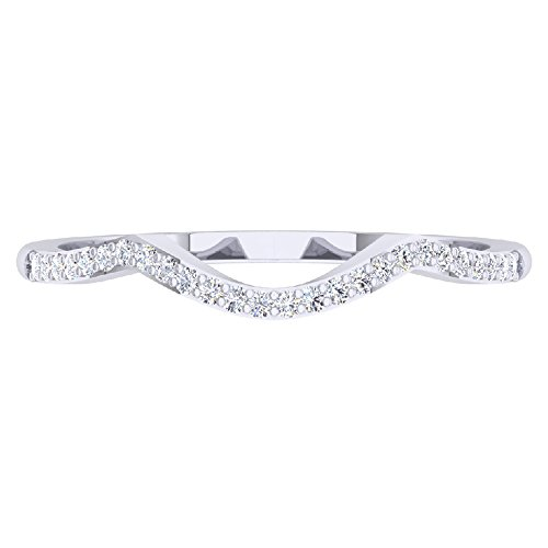 0.12 Carat (ctw) 14K White Gold Round Cut Diamond Ladies Wedding Band Contour Guard Ring (Size 8.5)