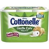 Cottonelle Gentle Care Bath Tissue with Aloe & Vitamin E, Double Rolls, 12 ea