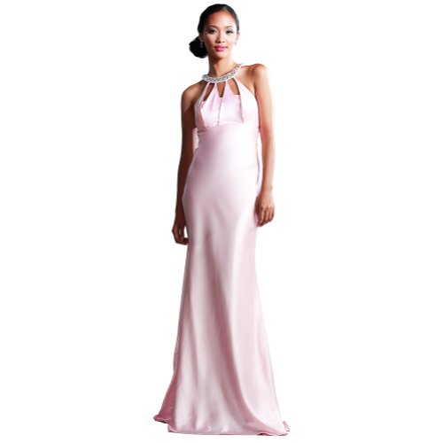 GEORGE BRIDE Sheath/ Column Halter Floor Length Evening Dress With Beaded Appliques