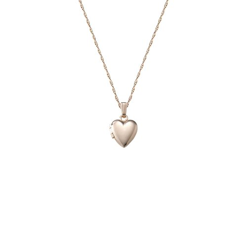 Children's 14k Small Heart Polished Locket Necklace, 13