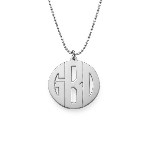 Personalized Block Monogram Necklace- Custom Made With Any Initial! (Sterling Silver, 20 Inches)