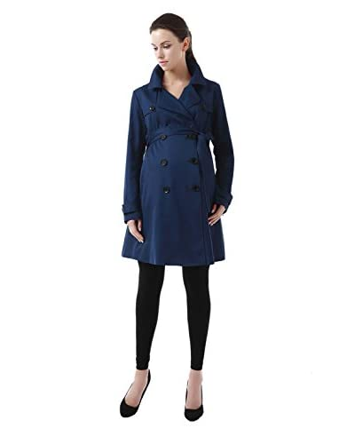 Momo Maternity Women's Delia Belted Double-Breasted Trench
