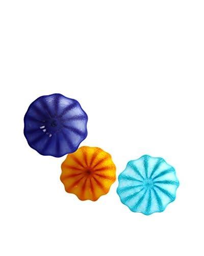 3-Piece Glass Wall Installation, Blue/Turquoise/Yellow-Orange