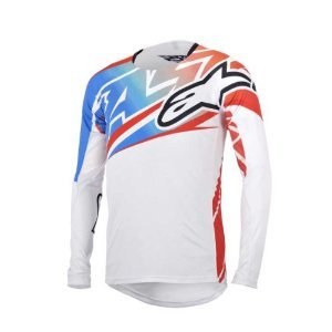 Alpinestars Men'S Sight Long Sleeve Jersey, X-Large, White/Red/Electric Blue