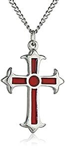 """Bob Siemon Red Fleur-de-Lis Cross Pendant Necklace, 20"""""""