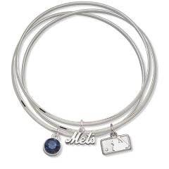 New York Mets Bangle Bracelet Set W/ Blue Crystal