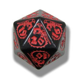1 (One) Single d20 - Q-Workshop: Carved DRAGON d20 Dice / Die (Black & Red)