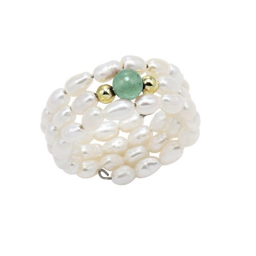 Stretchy Freshwater Pearl Ring with Green Aventurine Includes a Gift Box and Pouch