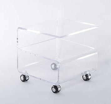 Mesa de Centro 40x40x40 cm Auxiliar Cristal Acrilico 4 Ruedas Carga Max 20 kg