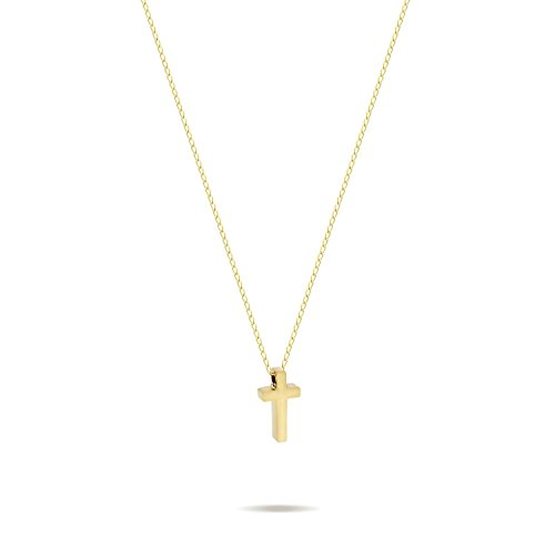 Tiny Gold Cross Necklace 14K Gold Plated Small Christian