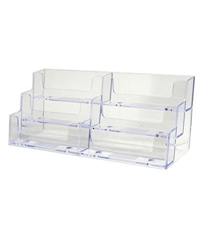 Source One Deluxe 6 Pocket Clear Business Card Holder Counter Top Style (S1-6Pocket counter BC) (Business Card Stand Holder compare prices)