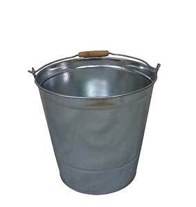 east2eden 15 Litre Builders Garden Cleaning Galvanised Metal Coal Ash Bucket with Handle