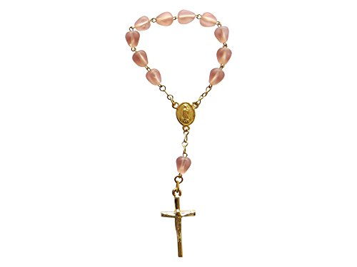 Single Decade Rosary Small Rosary One Decade Rosary with Pink Beads Decenario Small Rosary for Statue