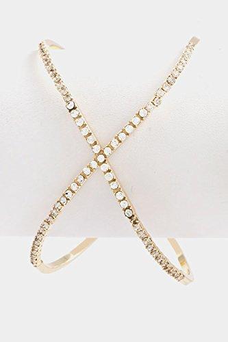 Karmas Canvas X Shaped Crystal Lined Bracelet (Gold) front-198264