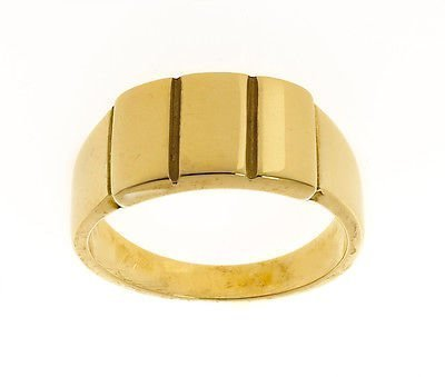 'Men''s 9ct Gold Plain Bar Signet Ring Made In Jewellery Quarter B''ham RRP £915'
