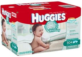 HUGGIES ONE & DONE Refreshing Baby Wipes have a cucumber and green tea scent and are thick enough