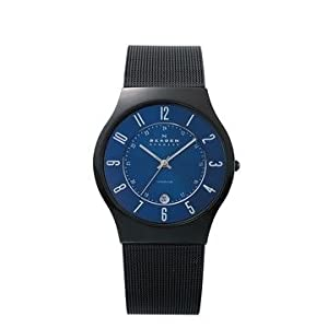 Skagen Men's T233XLTMN Royal Blue Dial And Black Signature Skagen Band Watch