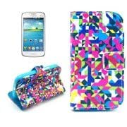 Color Block Pattern Leather Case with Card Slots Holder for Samsung Galaxy Core i8262