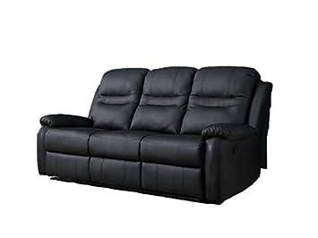 Sofa 3Sitzer Relax Haus Comfort Haus Wohnzimmer Kunstleder schwarz