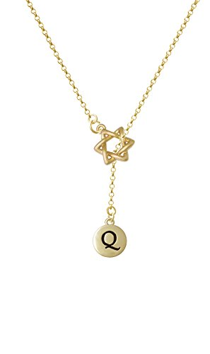 Capital Gold Tone Letter - Q - Pebble Disc - Gold Tone Star Of David Lariat Necklace
