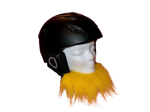 """Helm - Bart """"Gelb"""" für den Skihelm, Snowboardhelm oder Fahrradhelm - Helmbart, Helmschmuck- Coole Helmdeko"""