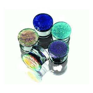 Pryex Glass Dichroic Aqua Double Flared Plugs -1/2