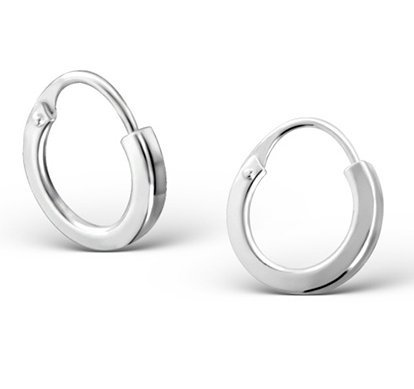Pair of Sterling Silver Small Plain Hoop Earrings with Hinge (Size: 10mm x 1.7mm) Supplied in Gift Bag
