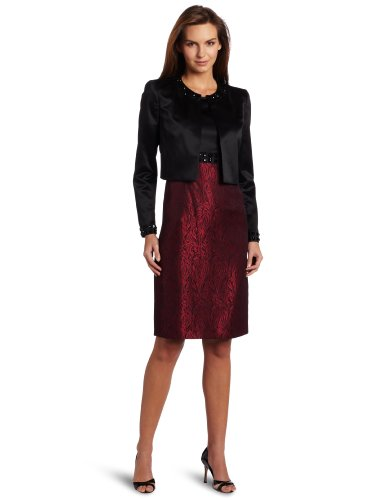 Kasper Women's Satin Jacquard Dress And Jacket Suit Set